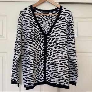 Dialogue Animal Print Black White Cardigan Size 1X